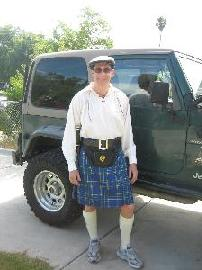 Sport Kilt next to Jeep